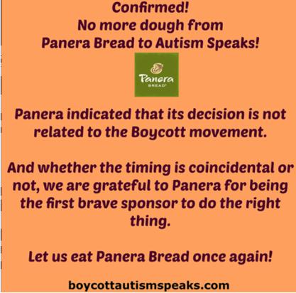 Panera bread has dropped Autism speaks!
